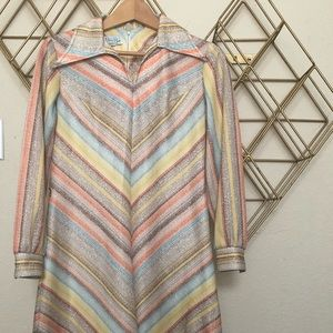 Dresses & Skirts - Vintage Long Sleeve Striped Midi Dress